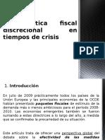 La Política Fiscal Discrecional en Tiempos de Crisis