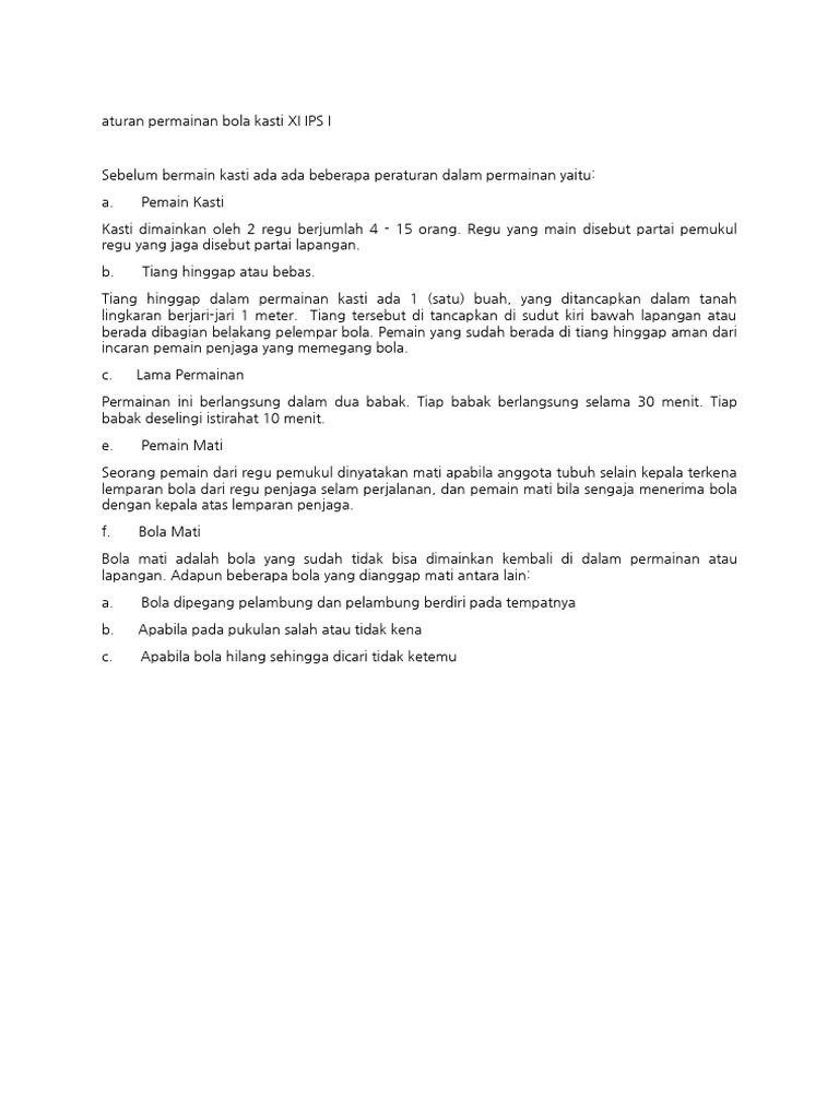 Aturan Main Bola Kasti