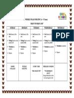 Weekly Plan Mar 5 to Mar 9