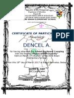 Boyscout Certificate