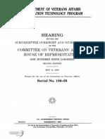 HOUSE HEARING, 106TH CONGRESS - DEPARTMENT OF VETERANS AFFAIRS INFORMATION TECHNOLOGY PROGRAM
