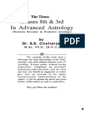 Jyotish_Houses 8 and 3 in advanced astrology_KP Horary_Chatterjee