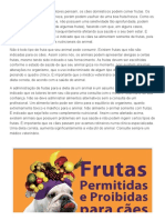 Frutas Permitidas e Proibidas Para Cães