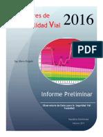 Indicadores de Siniestralidad Vial 2016. Rep. Dominicana