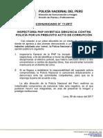 COMUNICADO PNP N° 11 - 2017