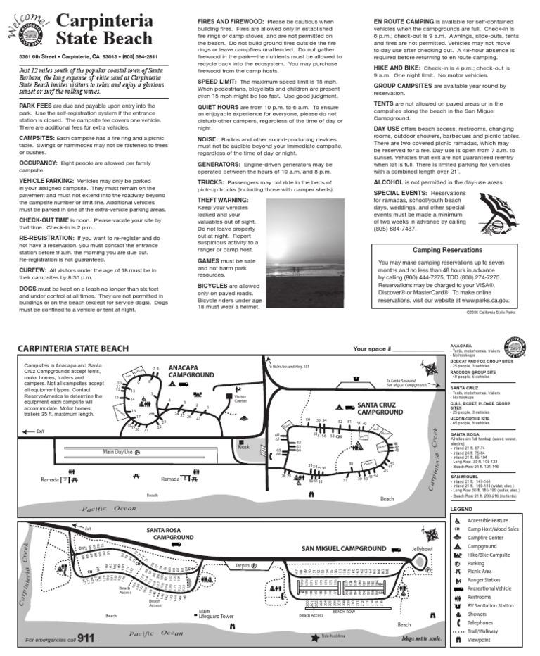 Carpinteria State Beach Campground Map | Campsite | Camping on