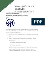 Afiliación o Inscripción de Una Empresa en El IVSS