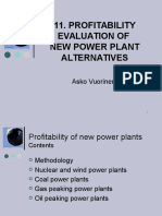 11. Profitability of New Power Plant Alternatives