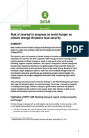 Reversal in Progress on World Hunger Likely as Climate Change Threatens Food Security