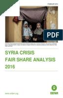 Syria Crisis Fair Share Analysis 2016