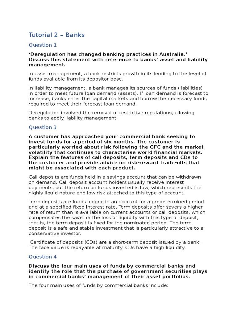 Fins1612 Tutorial 2 Banks Off Balance Sheet Securities Finance