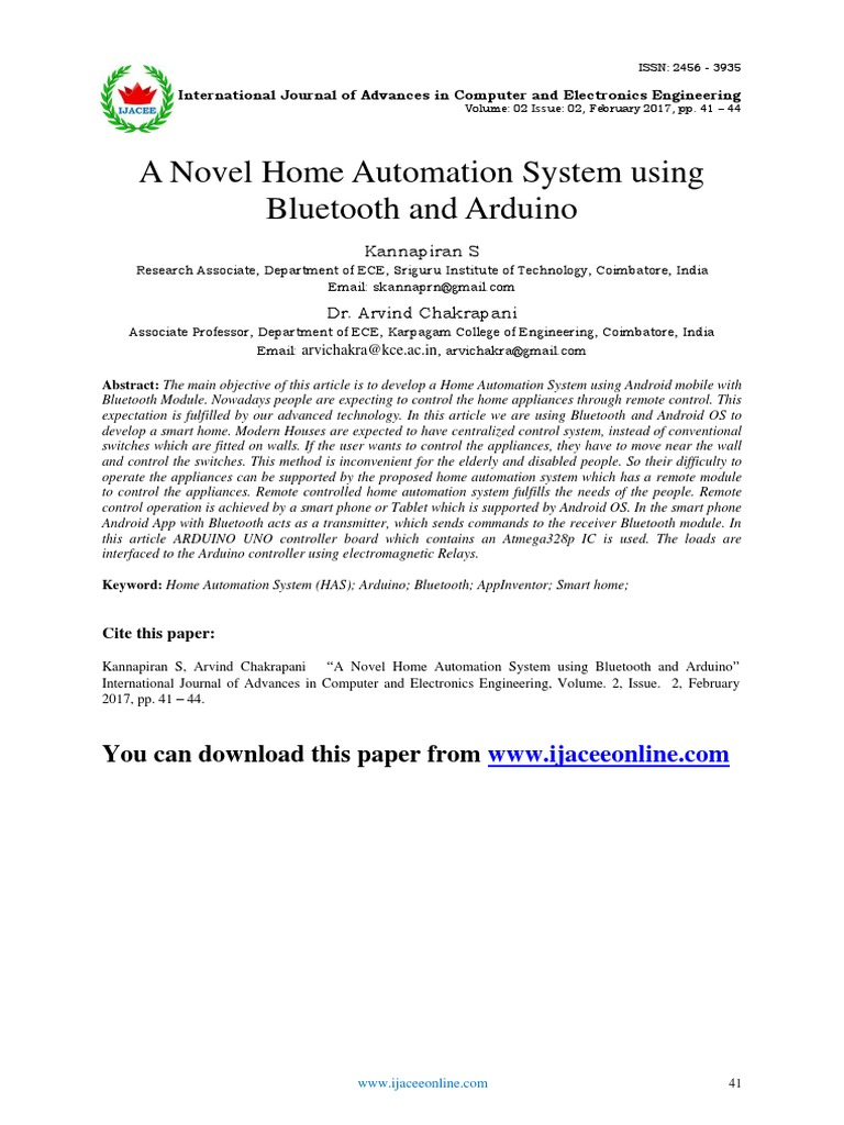 A Novel Home Automation System Using Bluetooth and Arduino