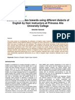 Students' Attitudes Towards Using Different Dialects of English by Their Instructors at Princess Alia University College