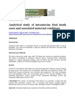 Analytical Study of Intrauterine Fetal Death Cases and Associated Maternal Conditions