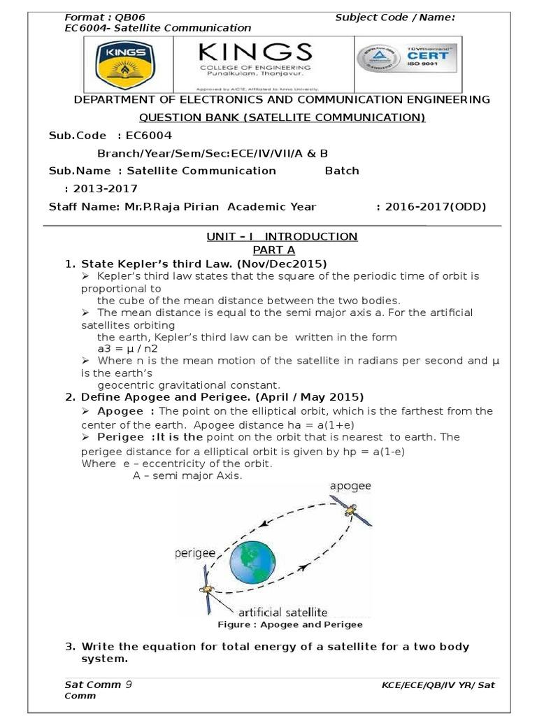 EC-6004 Satellite Communication Question Bank | Rocket