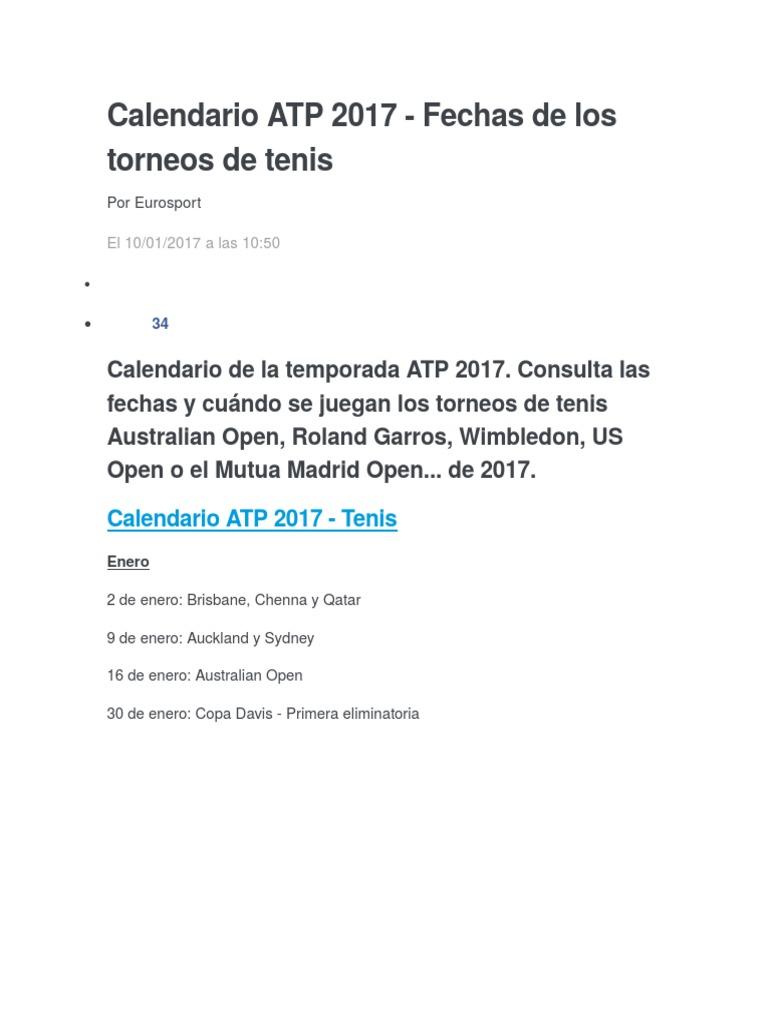 Roland Garros Calendario.Calendario Atp 2017