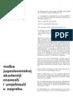 Julije Knifer-Molba Jugoslovenskoj Akademiji