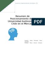Resumen de Posicionamiento de la Universidad Autónoma de Chile en el Mercado