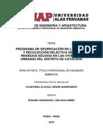 PROGRAMA DE SEGREGACIÓN EN LA FUENTE Y RECOLECCIÓN SELECTIVA DE LOS RESIDUOS SÓLIDOS EN LAS VIVIENDAS URBANAS DEL DISTRITO DE CATACAOS