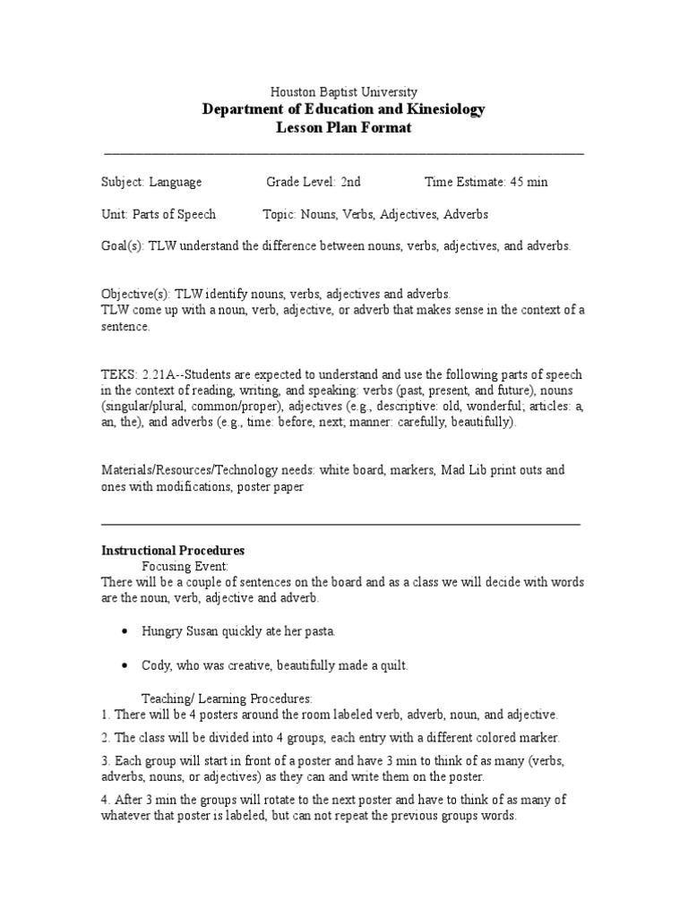 Mad lib lesson plan adjective verb spiritdancerdesigns Image collections