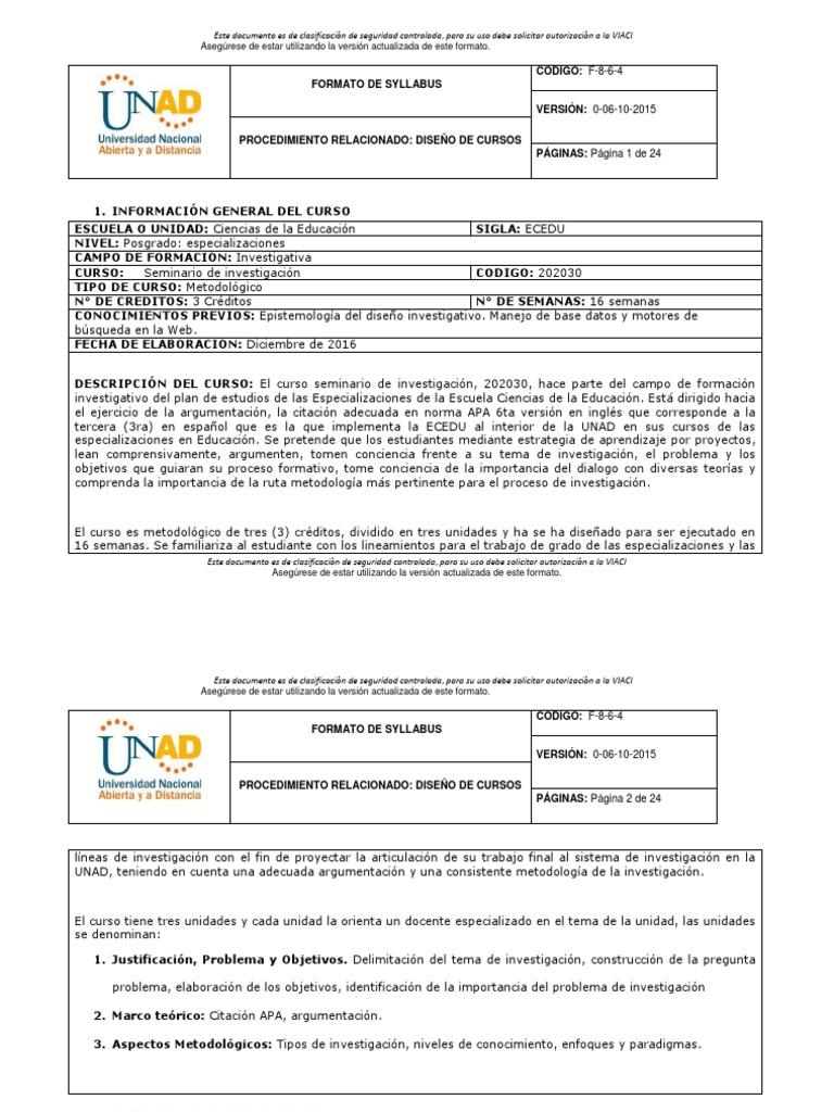Syllabus Seminario de Investigación Universidad Nacional Abierta ...