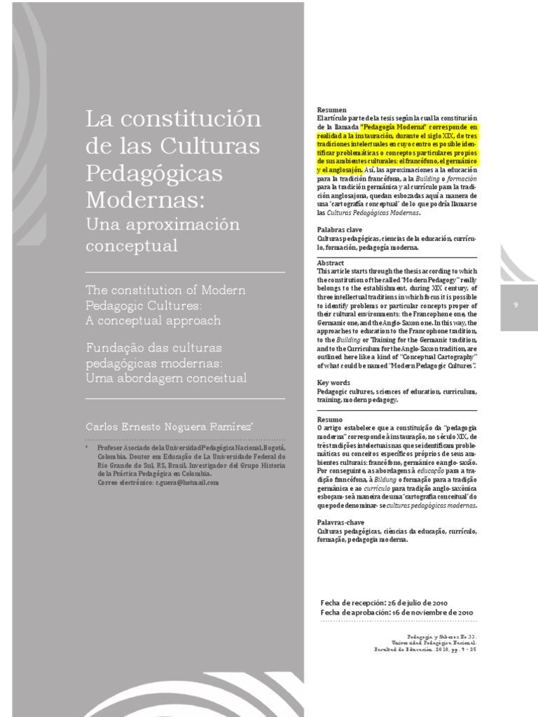 Culturas Pedagógicas Modernas Noguera E.