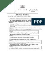 Sheet 1- Solutions