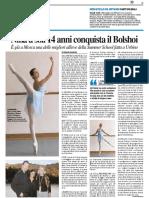 Nina a soli 14 anni conquista il Bolshoi - Il Resto del Carlino del 19 marzo 2017