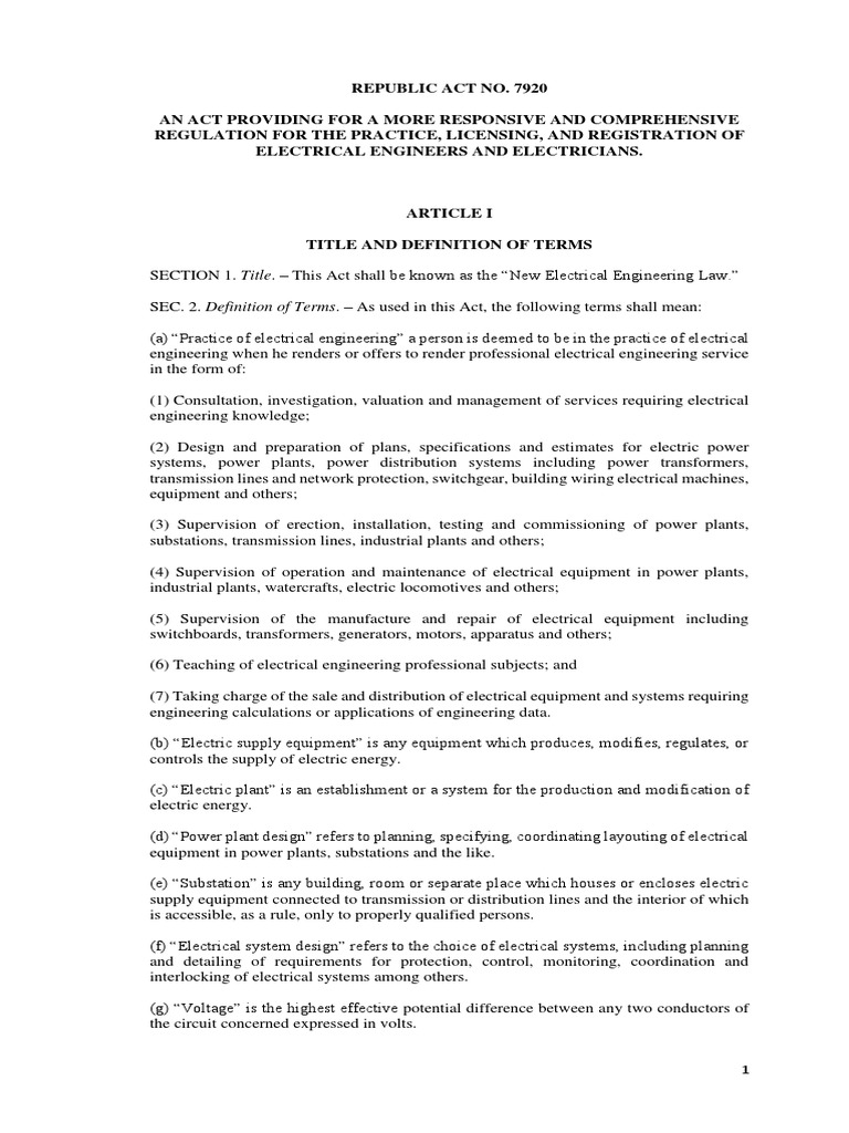 1  New Ee Law (Ra 7920) | Licensure | Electrician