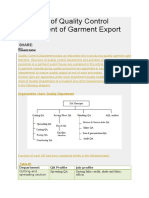 Structure of Quality Control Department of Garment Export House