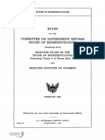 HOUSE HEARING, 106TH CONGRESS - RULES OF THE COMMITTEE ON GOVERNMENT REFORM  HOUSE OF REPRESENTATIVES TOGETHER WITH SELECTED RULES OF THE HOUSE OF REPRESENTATIVES AND SELECTED STATUTES OF INTEREST