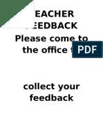 Teacher Feedback Sign