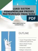 Evaluasi Sistem Pengendalian Proses Pasteurisasi Pada Susu