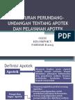 Peraturan Perundang-undangan Tentang Apotek Dan Pelayanan Apotek