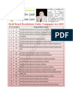 Draft Board Resolutions Under Companies Act 2013