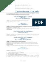 Cpe 1826 -20160826- Constitución Política Del Estado de 1826