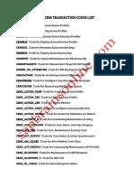 Sap Crm Transaction Codes List