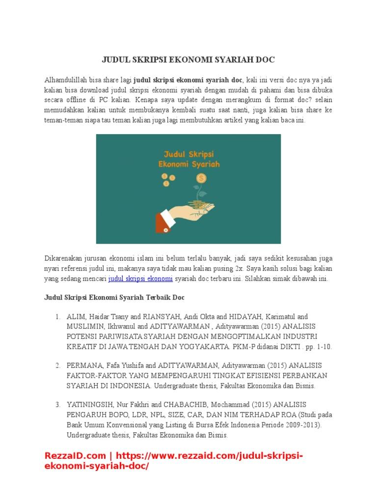 Judul Skripsi Ekonomi Syariah Doc Terbaru 2017 Rezzaid Docx