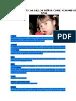Aracteristicas de Los Niños Consindrome de Dow