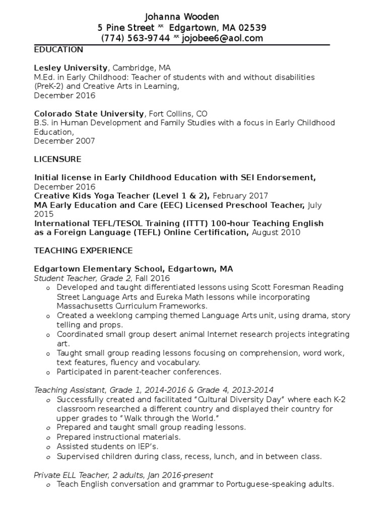 Johanna Wooden Resume Teaching English As A Foreign Language