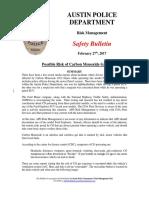 APD Safety Bulletin - Carbon Monoxide