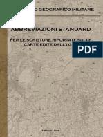 Abbreviazioni Standard Per La Scritturi Riportate Sulle Carte Edite Dall-I.G.M.