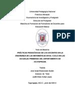 Practicas Pedagogicas de Los Docentes en La Ensenanza de Las Matematicas en El i Ciclo en La Escuelas Primarias Del Departamento de Ocotepeque