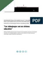 """""""Los Videojuegos Son Un Sistema Educativo"""" Página12 La Otra"""