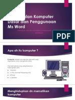 Pengenalan Komputer Dasar Dan Penggunaan Ms Word