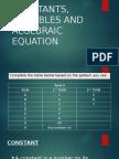 Constants, Variables and Algebraic Equation