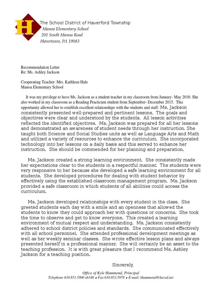 jackson letter teachers classroom management