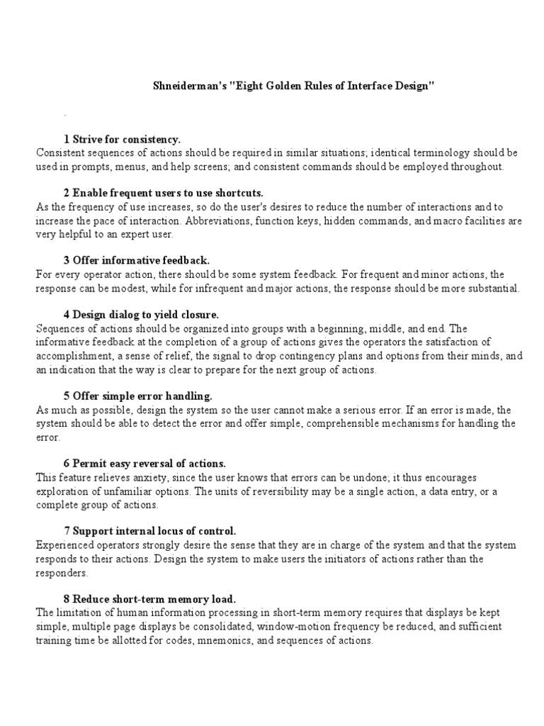 8 Golden Rule Shneiderman