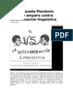 Gana El Poeta Mardonio Carballo Amparo Contra Discriminación Lingüística