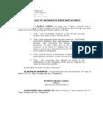 Affidavit of Separation of Employement
